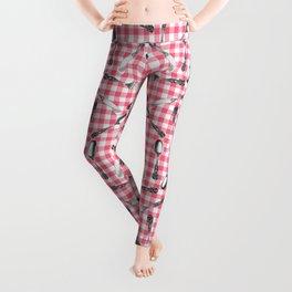 Utensils on Pink Picnic Blanket Leggings