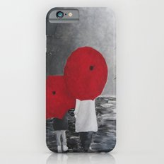 Black White Red mother and child with Umbrella print of painting rainy cloudy surrealism iPhone 6s Slim Case