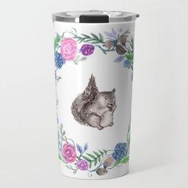 Squirrel and Wreath Watercolor Travel Mug