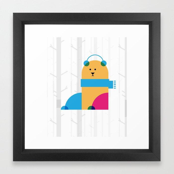 THE MISSING SCARF - Bear Framed Art Print