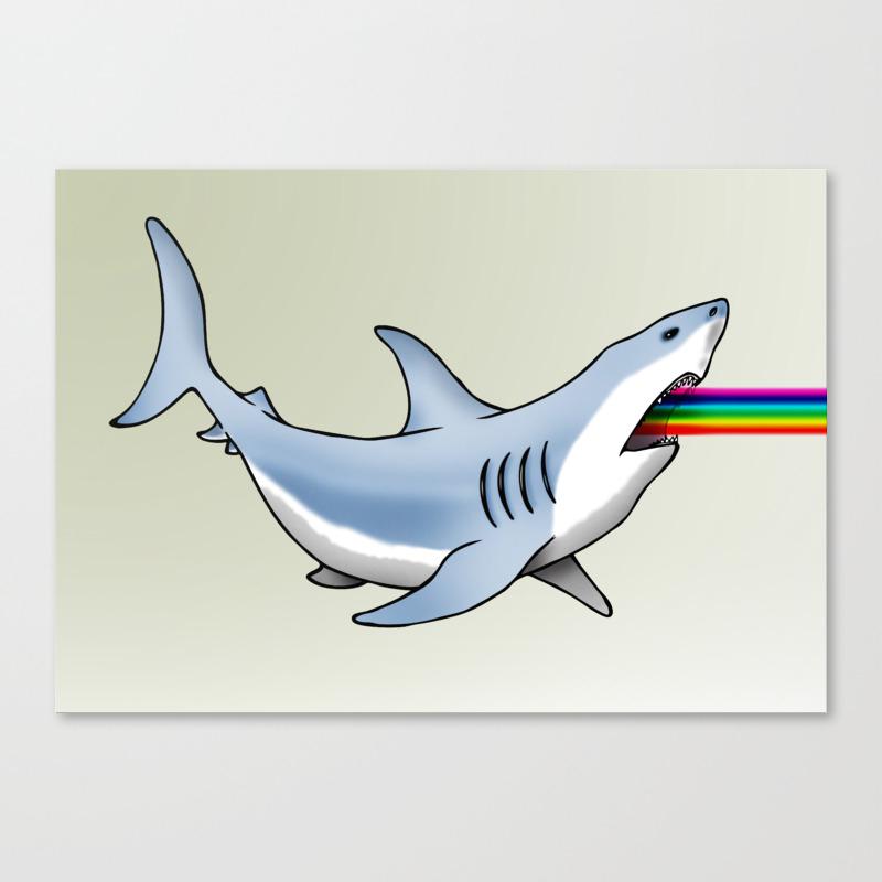 Rainbow Shark Canvas Print By Danbobs25 Society6