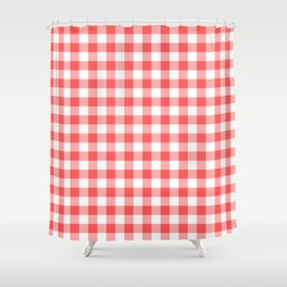 gingham red pattern Shower Curtain