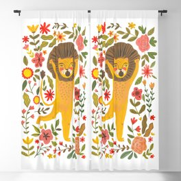 Little Lion King. Cute lion hand painted in gouache. Cute and fun animal. Wild animals illustration for home decor Blackout Curtain