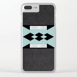 Sea Foam Silver Diamond on Black Background Clear iPhone Case