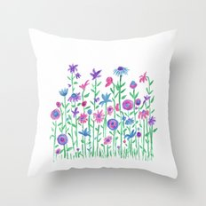 Cheerful spring flowers watercolor Throw Pillow