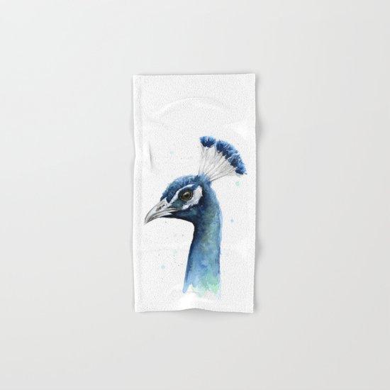 Peacock Watercolor Hand & Bath Towel