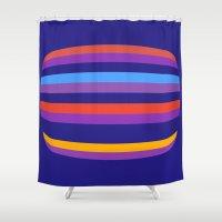 hamburger Shower Curtains featuring Abstract Hamburger by Betty Mackey