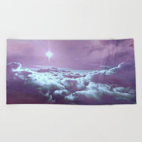 Mystic Clouds Lavender Aqua Beach Towel