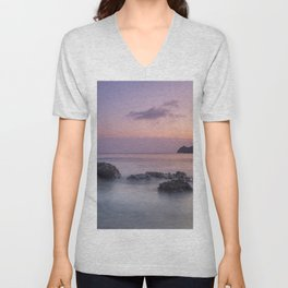 Purple sea. Half Moon beach. Unisex V-Neck