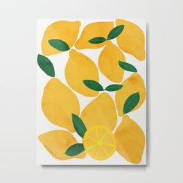 lemon mediterranean still life Metal Print