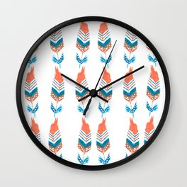 Orange and blue feathers with motiff Wall Clock