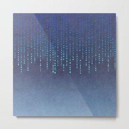 Dark Glamour blue faux glitter rhinestones Metal Print