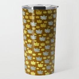 gold, silver, metal shiny maple leaf on shimmering texture Travel Mug