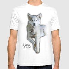 I love Husky Mens Fitted Tee White MEDIUM