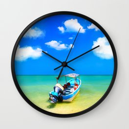 Little Blue Boat On The Gulf Of Mexico Wall Clock