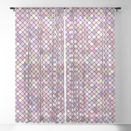 Happy Square Grid Sheer Curtain
