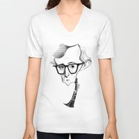 woody allen V-neck T-shirts featuring Woody Allen by Diego Abelenda