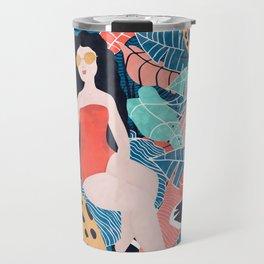 Cheetah & Tropical Girl Travel Mug
