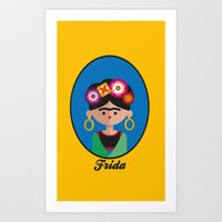 frida Art Prints featuring Frida by Juliana Motzko