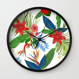 Heaven Bird Flower, Lily and Frangipani Tropical Flowers Pattern Wall Clock