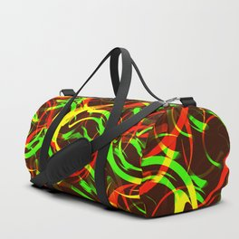 Background of fire circles. Fireballs and spheres with color overlay. Duffle Bag