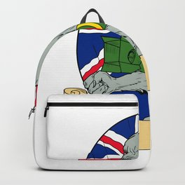 Grey Wolf Holding Bomb Union Jack Drawing Backpack