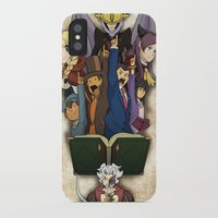 ace attorney iPhone & iPod Cases featuring Professor Layton vs. Ace Attorney by Kyra Draws