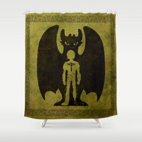 hiccup Shower Curtains featuring Heart of a Chief Soul of a Dragon by Chouly-Shop