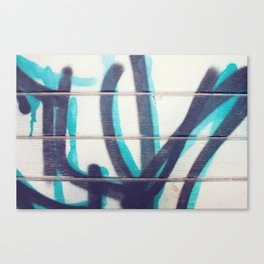 Teal and Black Grafitti Canvas Print