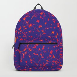 delicate small red floral pattern print against blue background design Backpack