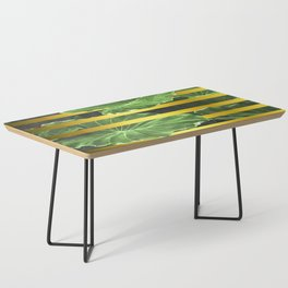 Green Leaves and Gold Stripes Coffee Table