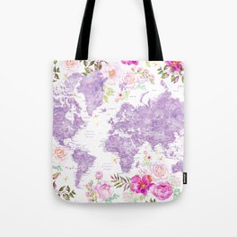 Purple watercolor floral world map with cities Tote Bag