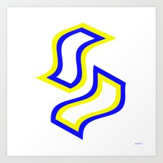 Dance of blue and yellow Art Print