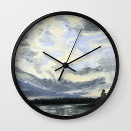 Dramatic Clouds over White Lake Wall Clock