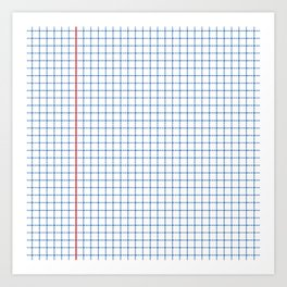 Dotted Grid Red and Blue Art Print