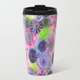 Mixed Doodled Disks Travel Mug
