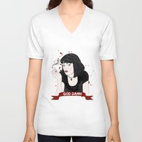 mia wallace V-neck T-shirts featuring Pulp Fiction's Mia Wallace by raeuberstochter