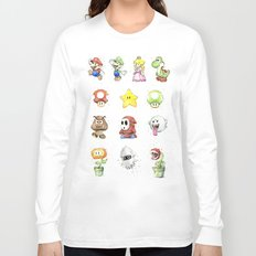 Mario Characters Watercolor Geek Gaming Videogame Long Sleeve T-shirt