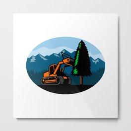 Forestry Mulcher Tearing Tree Oval Retro Metal Print