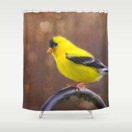 Gold Finch Love Shower Curtain