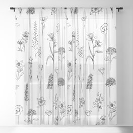 Patagonian wildflowers white Sheer Curtain