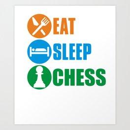 Eat sleep chess repeat Art Print