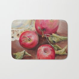 RED APPLES on the table Classic Still life Painting Bath Mat
