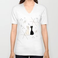 mid century V-neck T-shirts featuring Mid Century Meowdern by Manda Sisco