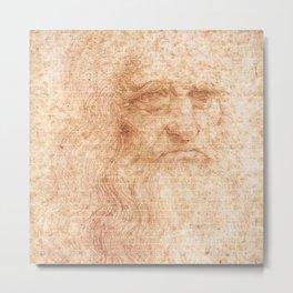 Brick Wall Painting Leonardo da Vinci by Leonardo da Vinci Urban Artist Metal Print