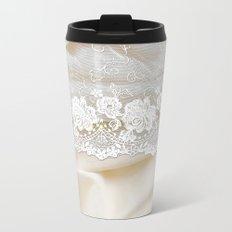 Bride lace - Luxury white floral elegant lace on cream silk fabric on #Society6 Metal Travel Mug