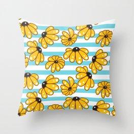 Beautiful yellow chamomile stripped pattern Throw Pillow