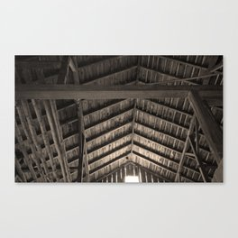 Old Barn Rafters in Sepia Canvas Print
