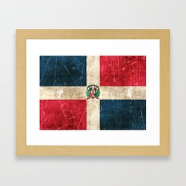 Vintage Aged and Scratched Dominican Flag Framed Art Print