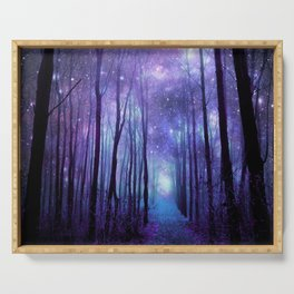 Fantasy Forest Path Icy Violet Blue Serving Tray